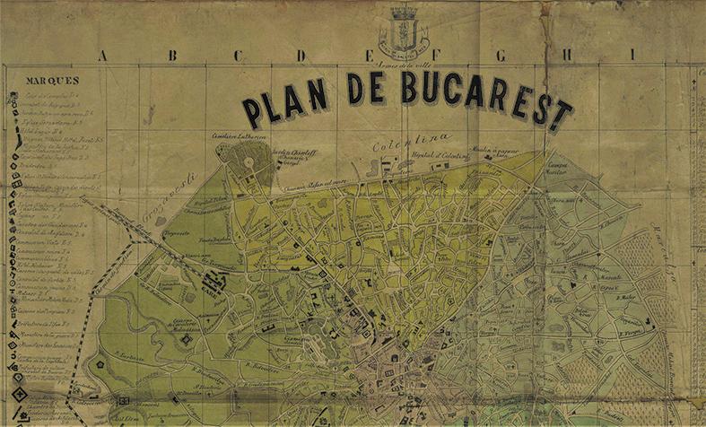 Fragment Harta București C. Isler 1873